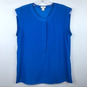 J. Crew | Blue Sleeveless Drapey Popover Shirt 2